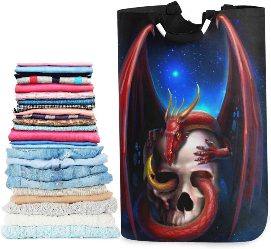 visesunny Red Dragon with Skull Large Laundry Bag Collapsible Oxford Fabric Laundry Hamper Foldable Portable Dirty Clothes Laundry Basket with Handles Waterproof Washing Bin Laundry Tote Bag