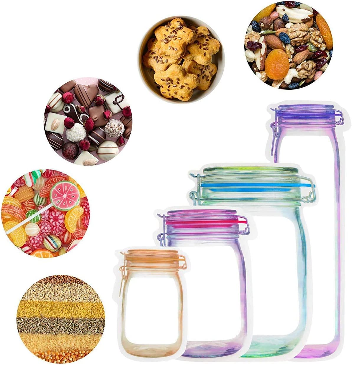 GiWuh 32 PCS Reusable Jar Bags Mason Storage Bag Sealed Zipper Food Bag Used in Food Retail, Nuts and Biscuits Waterproof and Moisture Proof Suitable for Travel, Camping (Multicolor)