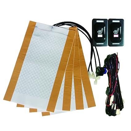 Besond universal calentador de asiento de coche rectángulo hi-off-lo interruptor de elemento de calefacción de fibra de carbono dos asientos