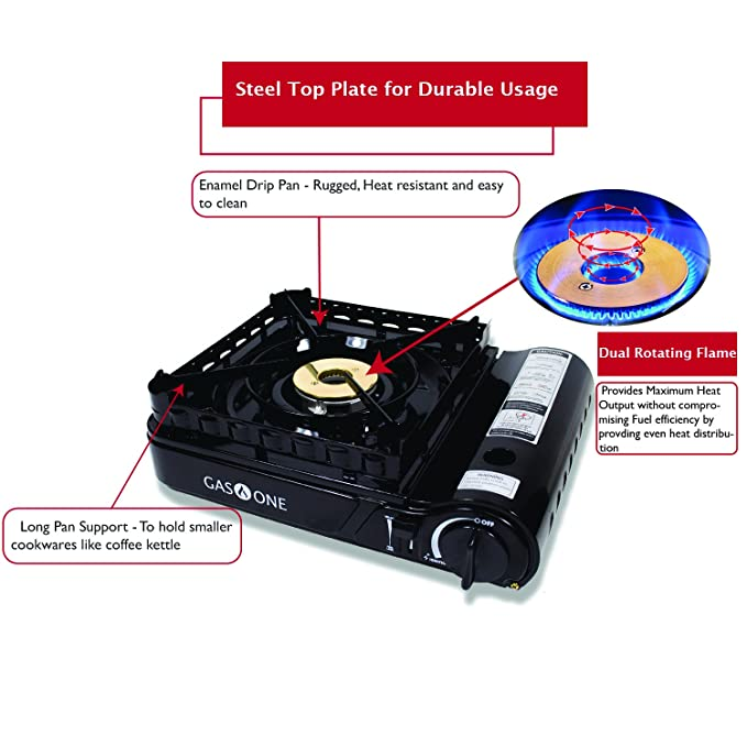 Amazon.com: Gas ONE GS-3900P Dual Fuel Propane or Butane Portable Stove with Brass Burner Head, Dual Spiral Flame 15,000 BTU Gas Stove with Convenient ...