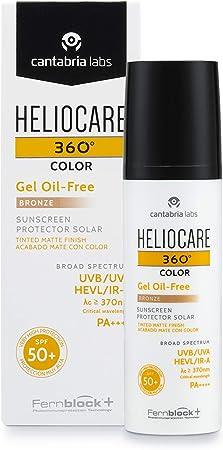 Heliocare 360° Color Gel Oil Free Protector solar acabado mate con color SPF 50+, 50 ml - Bronze