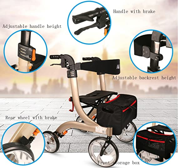 Tochange Andador Plegable Ayuda para Caminar, Trolley Mayor con ...