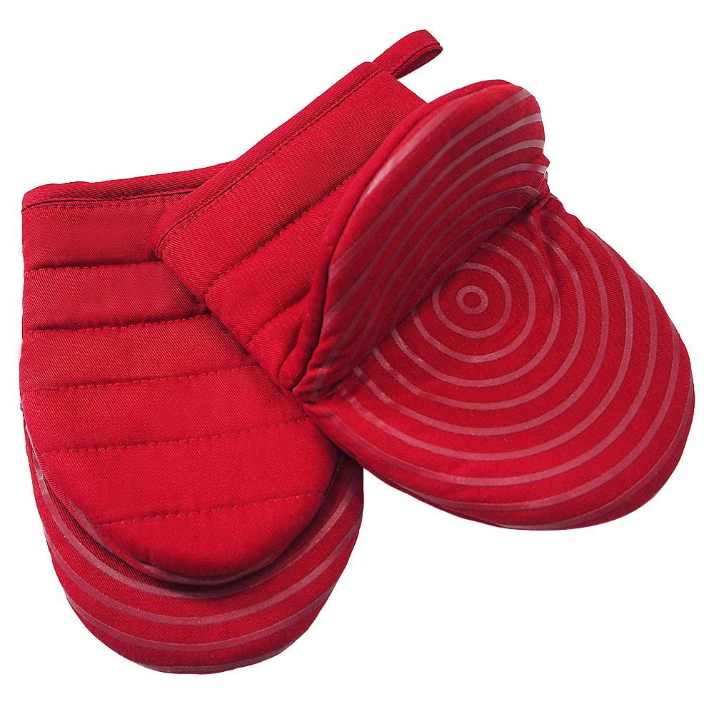 Cotton Quilted Mini Oven Mitts Kitchen set with Silicone Printing Non-slip Grip Heat Resistant, Puppet Mini Oven Gloves set of 2 for BBQ Cooking Baking, Grilling, Machine Washable Women and Men Red