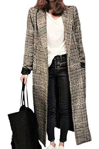 La Mujer Invierno Elegante Plaid Classic Espesar Cálido Maxi Trenchcoat Abrigos Abrigos