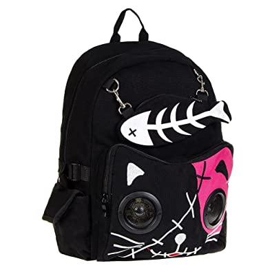 Blue Banana Alternative Fashion Mochila Banned Cat Bone con Altavoces (Rosa y Negro)