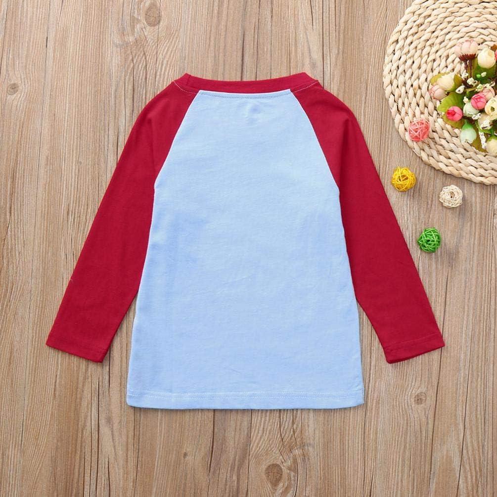 Baby Long Sleeve T Shirt,Fineser Toddler Girls Kids Children Rainbow Cloud Printed Patchwork T Shirt Tops Blouse 18M-6T
