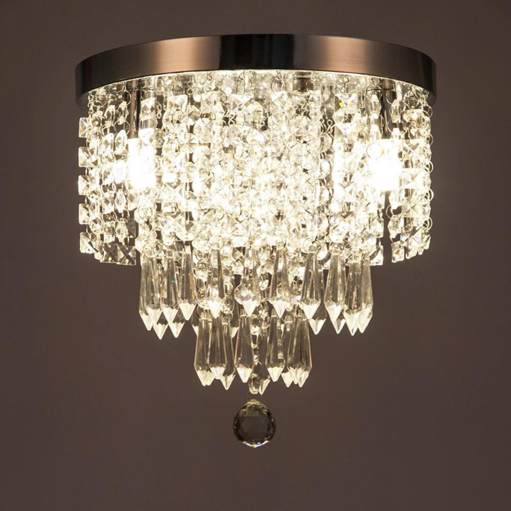ZEEFO Crystal Chandeliers, Modern Pendant Flush Mount Ceiling Light Fixtures, 3 Lights, H10.2 W9.8 Inches, Contemporary Elegant Design Style Suitable For Hallway, Living Room, Dining Room by ZEEFO (Image #8)