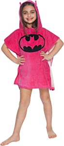 DC Comics 'Batgirl' Batman Bat Logo Superhero Hooded Bath Beach Swim Poncho Towel, Pink, 4-7