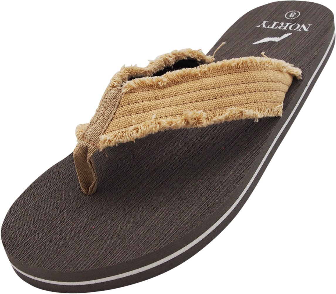 NORTY - Men's Thong Flip Flop Sandal, Tan, Grey 40572-8D(M) US