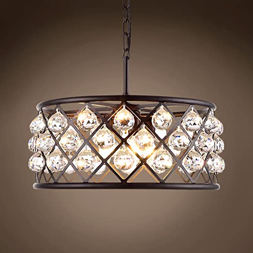 Amazon.com: Aro con rejilla de cristal, 5 luces, 20.0 in ...