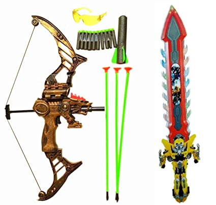 4c80412e8ea8 Buy Justice League Toy Weapon for Kids - Archery Crossbow Set + Mighty  Sword - Best Gift for Bahubali Kids Online at Low Prices in India -  Amazon.in