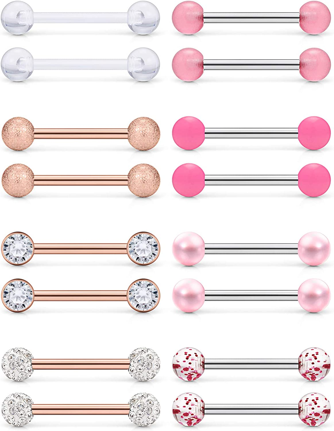 Prjndjw 8Pairs 14G 16G Nipple Rings Surgical Steel Tongue Rings Barbell Nipplering Diamond CZ Body Piercing Jewelry Retainer for Women Men 14mm Length Size