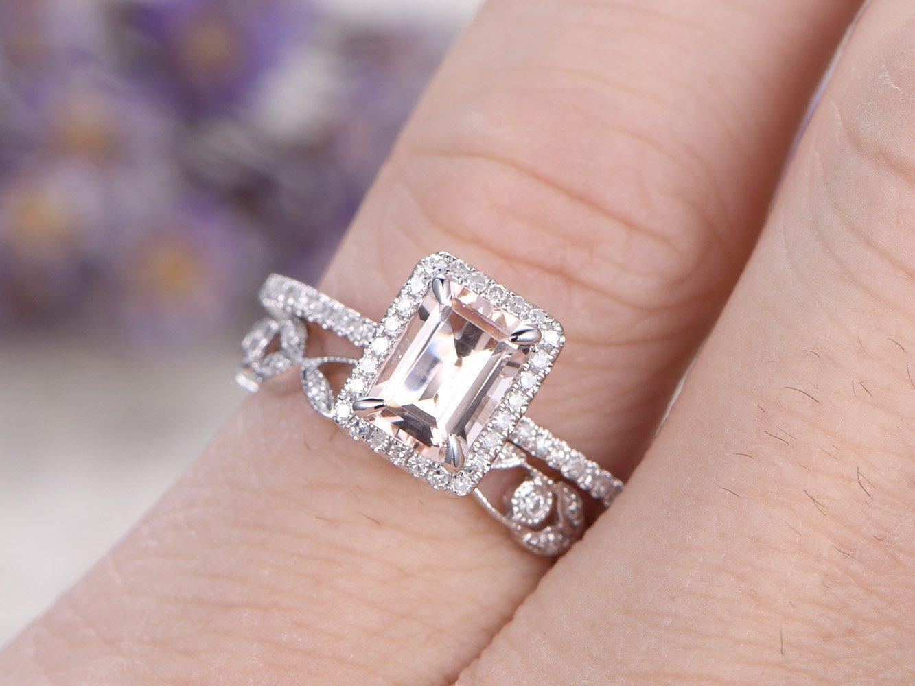 Amazon.com: 2pcs Morganite Wedding Ring Set,5x7mm Emerald Cut ...