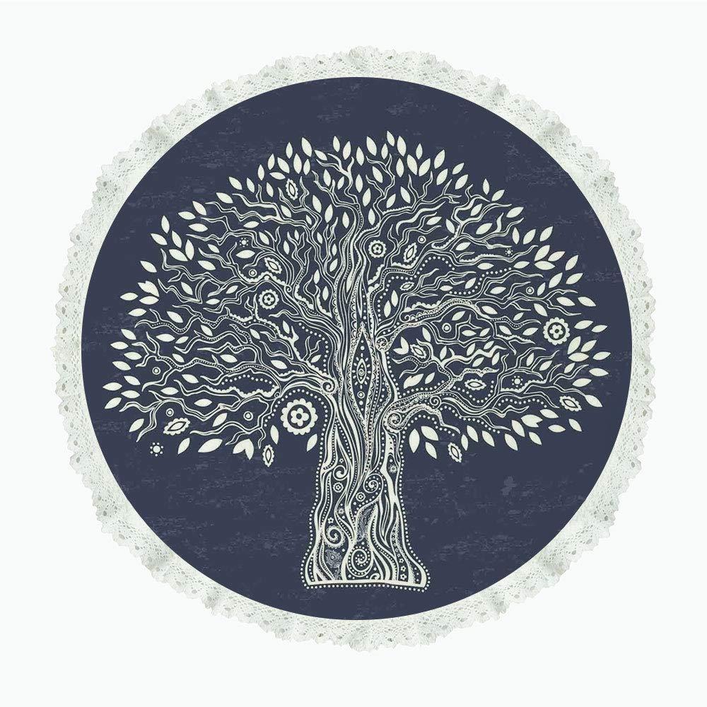 iPrint 36インチ ラウンド ポリエステル リネン テーブルクロス 生命の樹 木の枝 カラフルな煙 神秘的な空気 スピリチュアルな自然テーマ アートイメージ マルチカラー ディナーキッチン ホームデコレーション Round 36