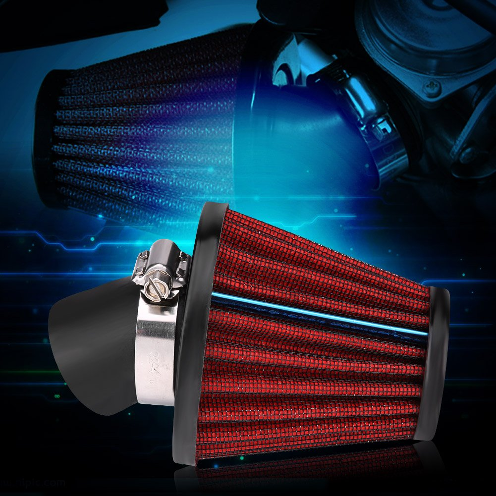 General Motorcycle Curved Air Filter Mushroom Head Air Intake Filter Cleaning 35mm-Red