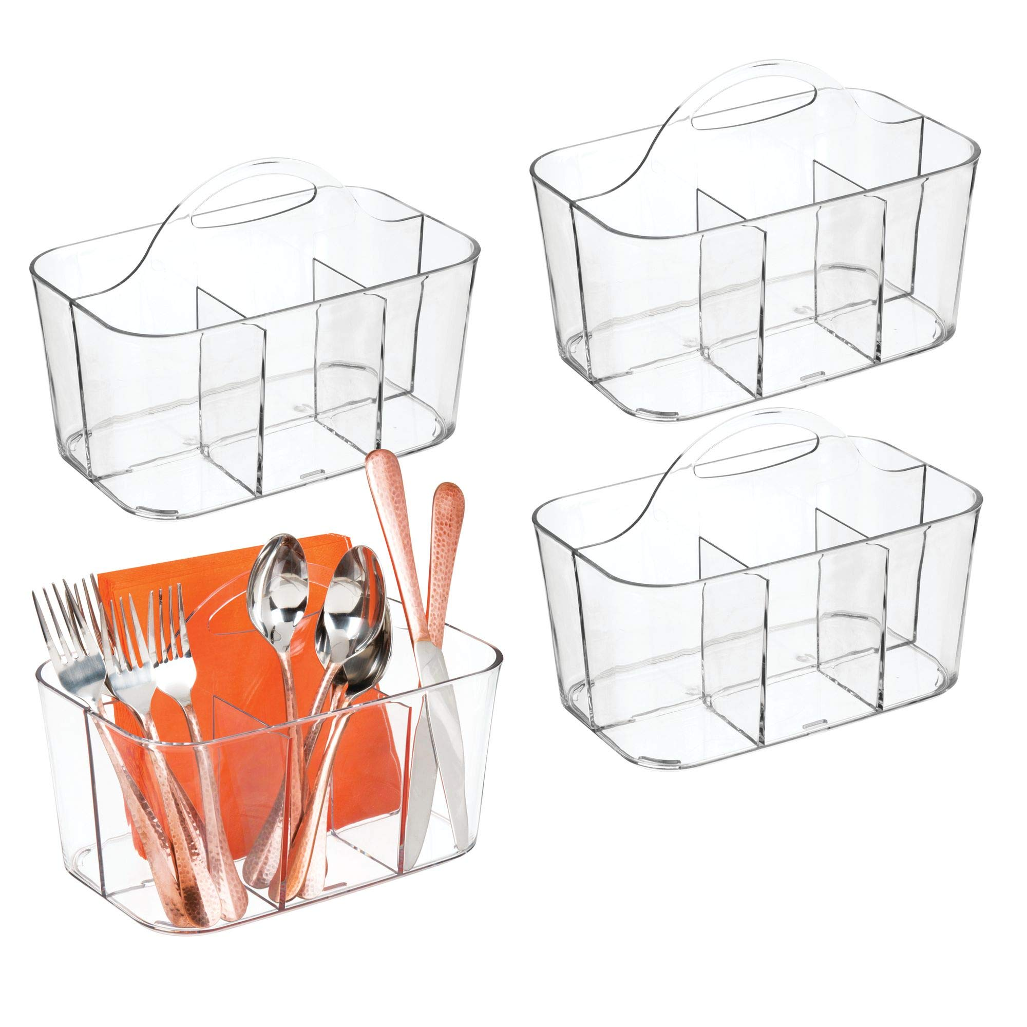 mDesign Plastic Cutlery Storage Organizer Caddy Bin - Tote with Handle - Kitchen Cabinet or Pantry - Basket Organizer for Forks, Knives, Spoons, Napkins - Indoor or Outdoor Use - 4 Pack, Clear by mDesign