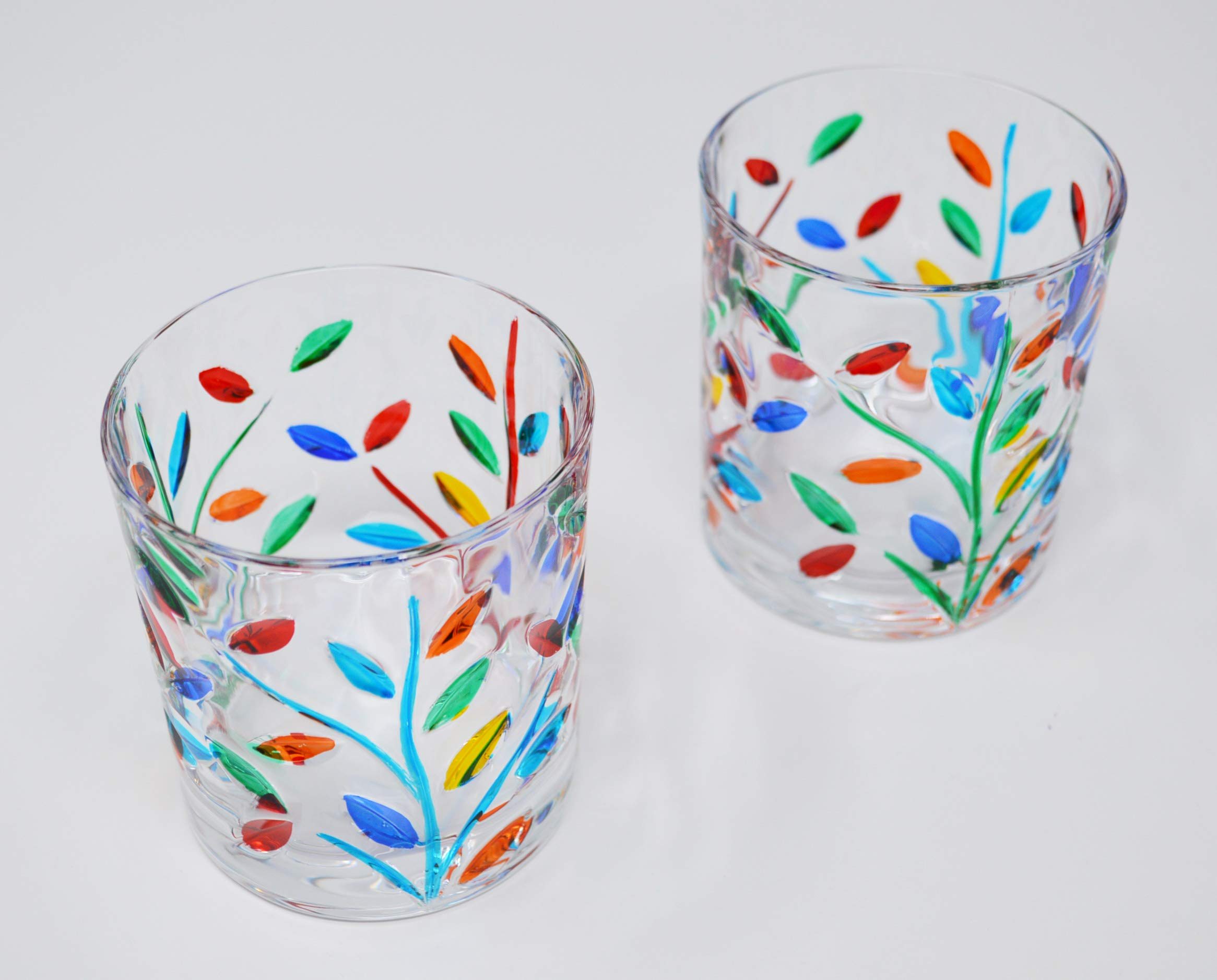 Venetian Glass Small Glasses, Flowervine Pattern, Set of 2 - Handmade Glass from Italy