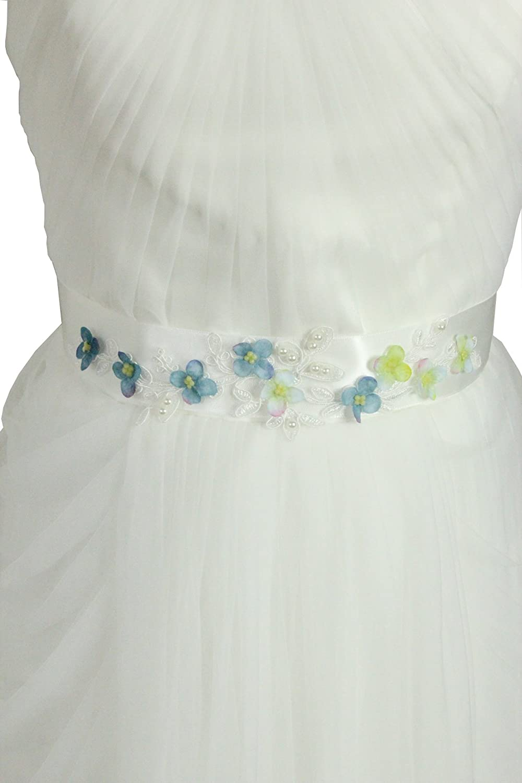 Lemandy Handmade Blue Litttle Flower Sash for Wedding Dresses