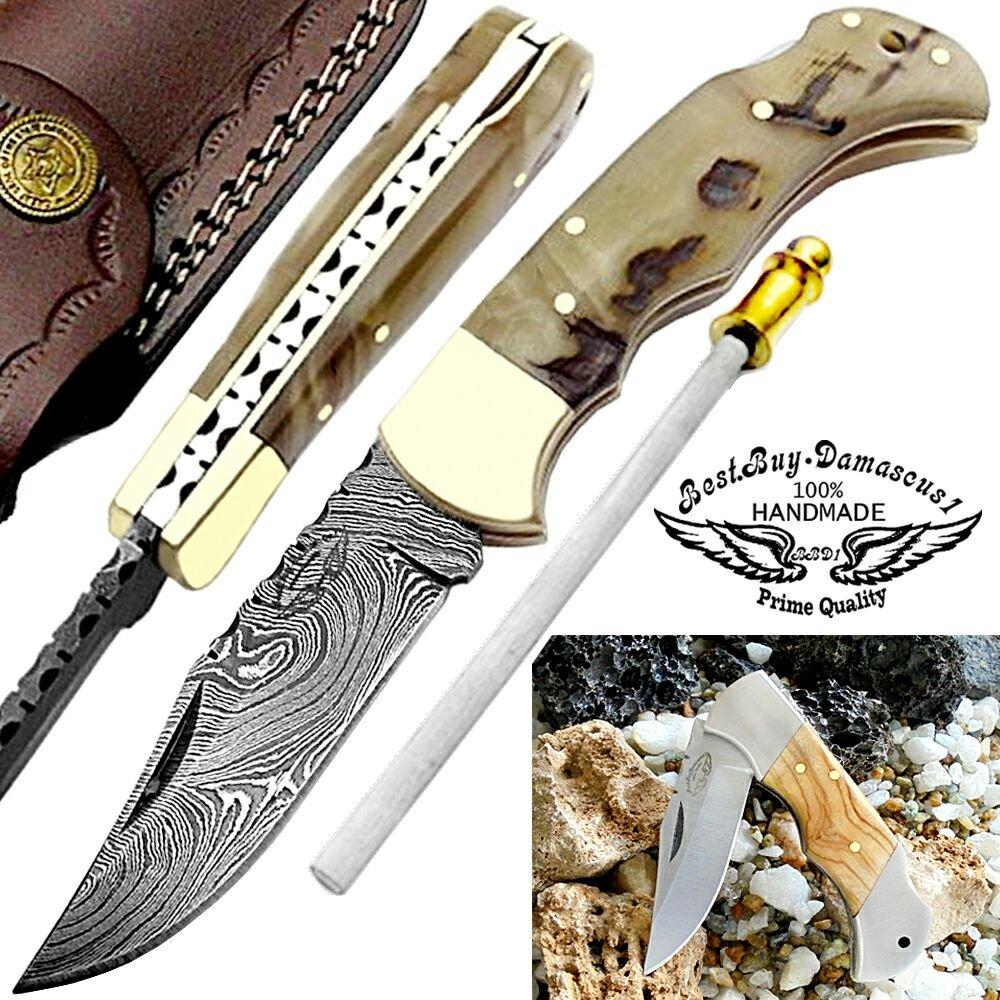 Pocket Knife 6.5 Ram Horn Damascus Steel Knife Brass Bloster Back Lock Folding Knife Sharpening Rod Pocket Knives 100 Prime Quality Olive Wood Stainless Steel Small Pocket Knife Damascus Knife