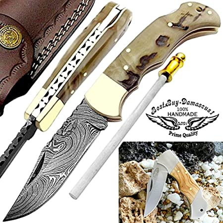 Pocket Knife 6.5 Ram Horn Damascus Steel Knife Brass Bloster Back Lock Folding Knife Sharpening Rod Pocket Knives 100 Prime Quality Olive Wood Stainless Steel Small Pocket Knife Damascus Knife