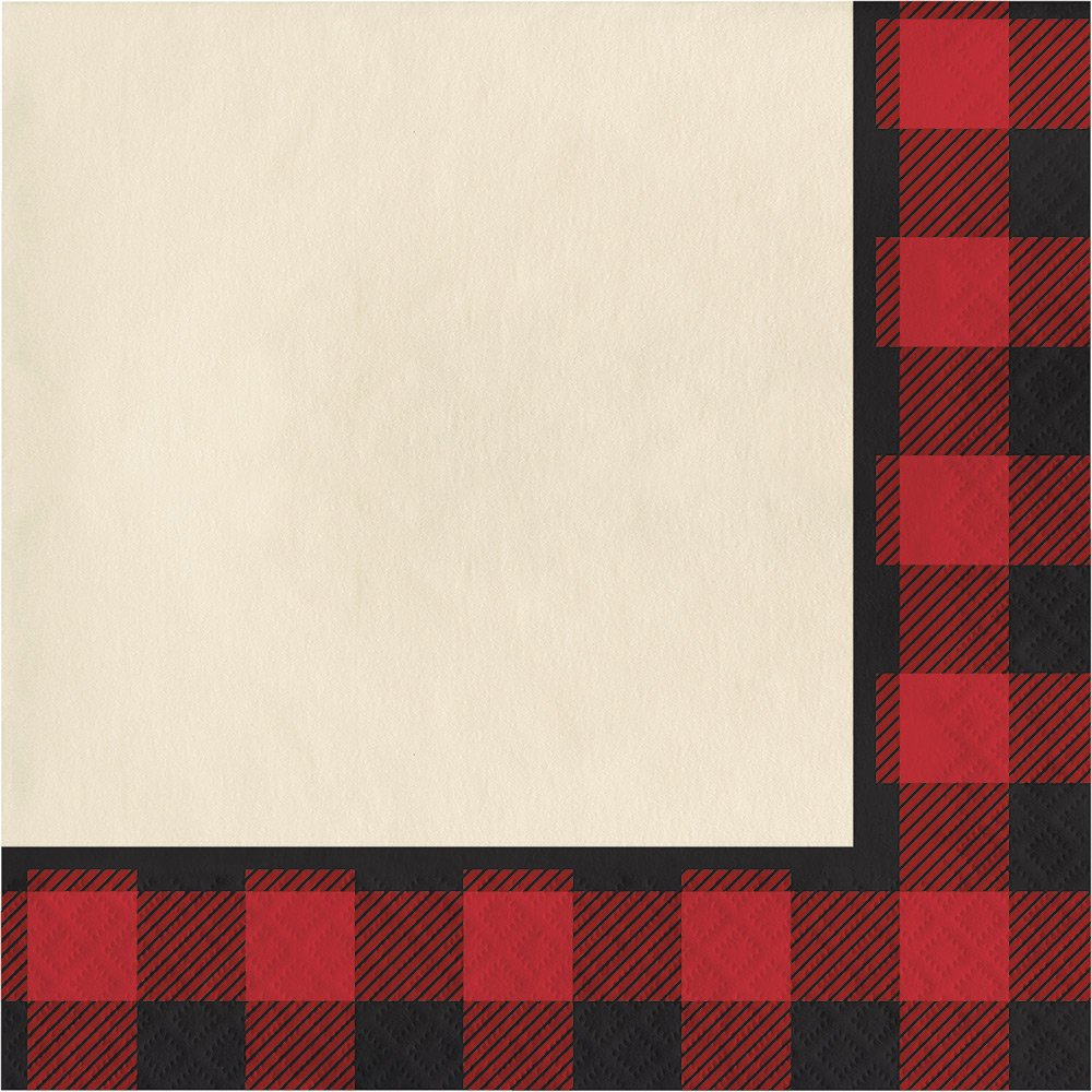 Creative Converting 321823 192 Count Lunch Paper Napkins, Buffalo Plaid