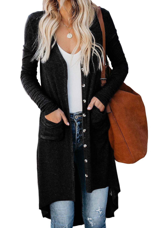 ZIYYOOHY Damen Strickjacke Cardigan Lang Langarm V Ausschnitt mit Knopf Strickpullover Tops Outerwear