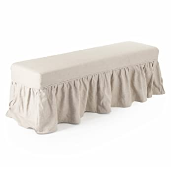 Nice Delors French Country Linen Slipcover Skirt Bench