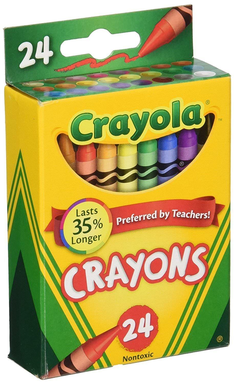 Crayola Box of Crayons Non-Toxic Color Coloring School Supplies, 24 Count (6 Boxes)