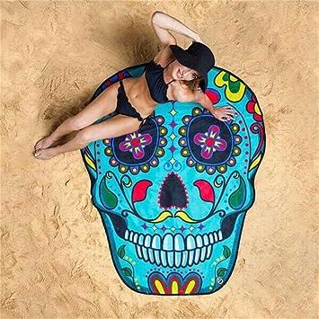 avanigo calavera toallas de playa, alfombra de Yoga Meditación redonda: Amazon.es: Hogar