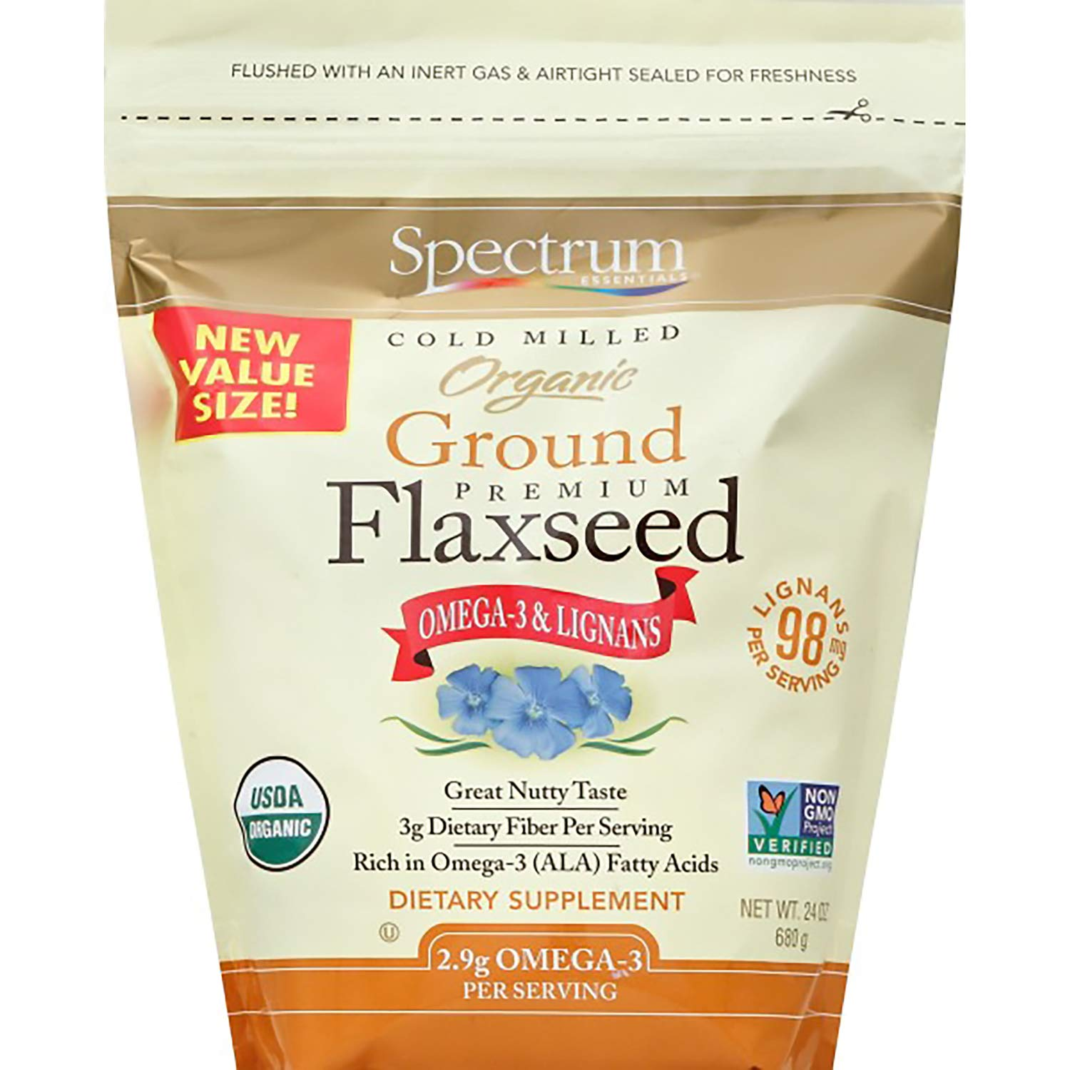 Spectrum Essentials Organic Ground Premium Flaxseed, 24 Oz