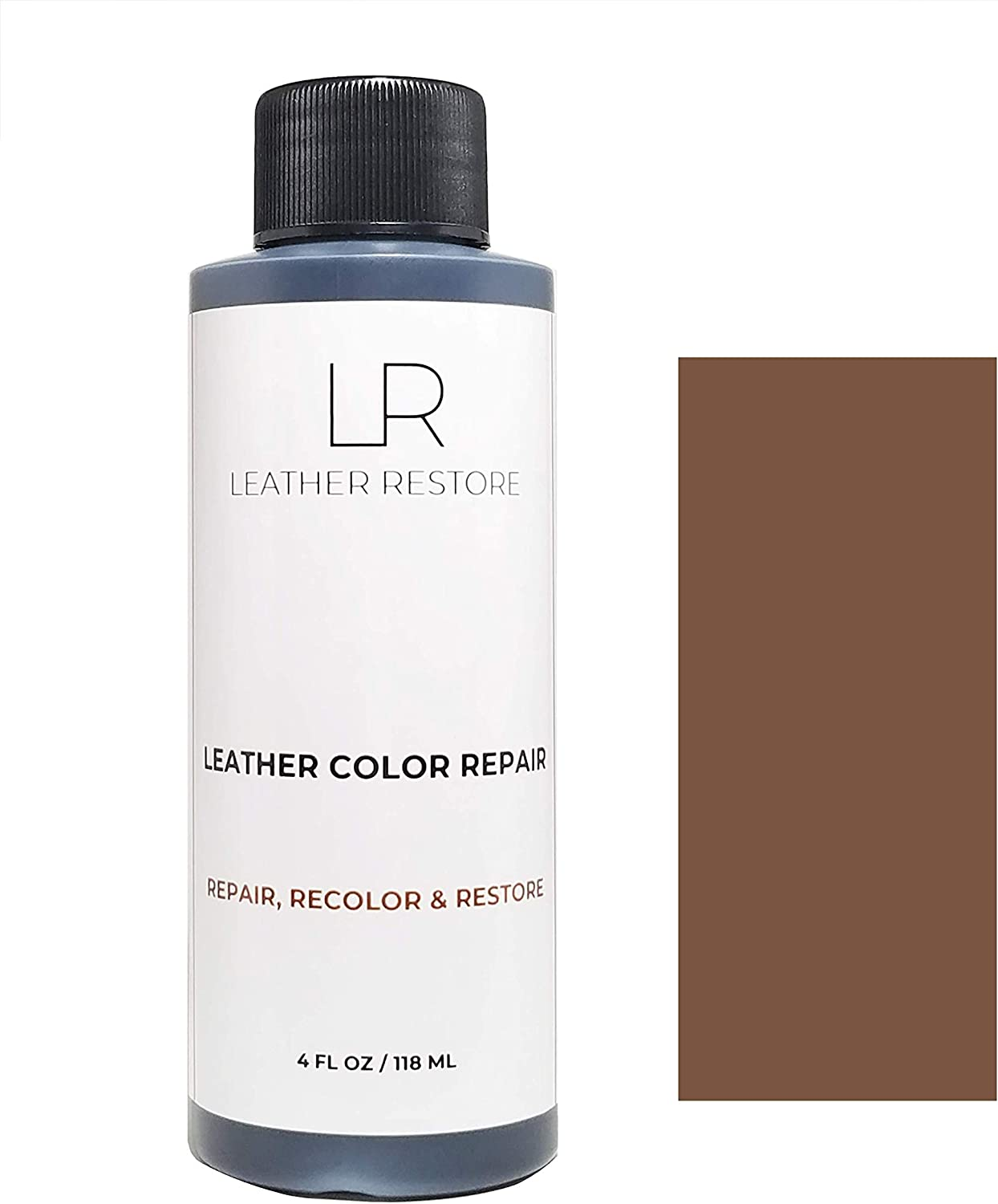 Leather Restore Leather Color Repair, Medium Brown 4 OZ - Repair, Recolor and Restore Couch, Furniture, Auto Interior, Car Seats, Vinyl and Shoes