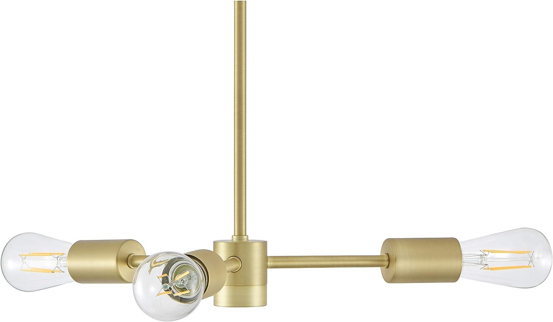 Geneva 3 Light Antique Brass Sputnik Chandelier with Bulbs LL-CL129-3SB