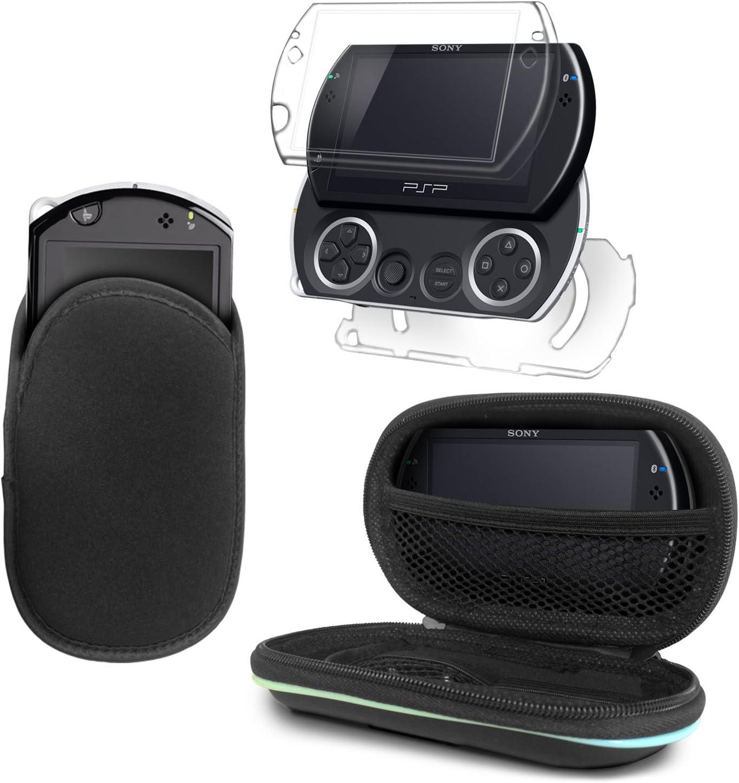 G-HUB® - Delux Bundle de Accesorios para Sony PSP GO (Incluye: 1x Transparente Crystal Case Caja de la Placa Frontal & Trasero y 1x Funda Slip Pouch en Negro y 1x Protectora