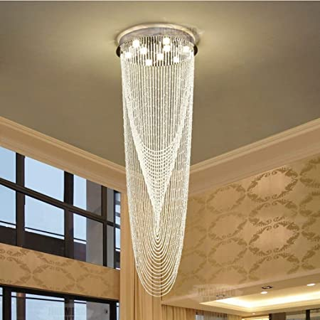 SED Lámpara de araña de Cristal Lámparas de Techo Villa Escalera Moderna a Dos Caras Lámpara Larga Grande: Amazon.es: Hogar