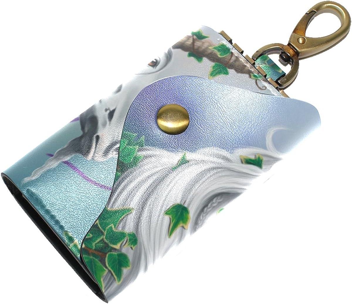 DEYYA Evander The Unicorn Leather Key Case Wallets Unisex Keychain Key Holder with 6 Hooks Snap Closure