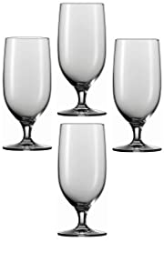 Circleware Bier Footed Beer/Drinking Glasses, Set of 4, 20 oz., Clear