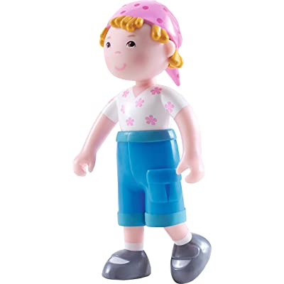 "HABA Little Friends Vreni - 4"" Bendy Girl Doll Figure with Blonde Hair & Pink Hat: Toys & Games"