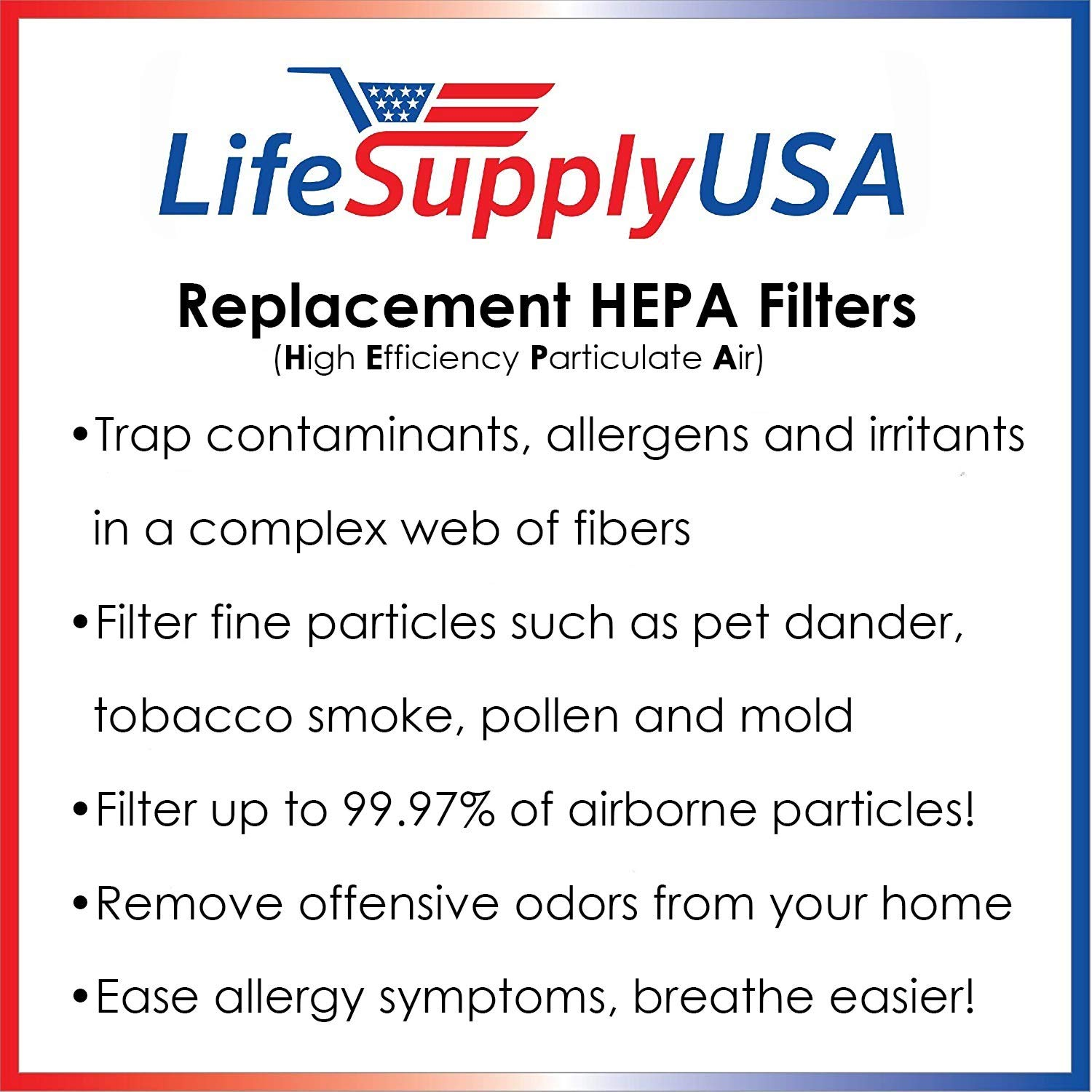 C LifeSupplyUSA 2 Pack Replacement Filter fits Honeywell HEPAClean Air Purifier Replacement Filter HRF-C2 Filter