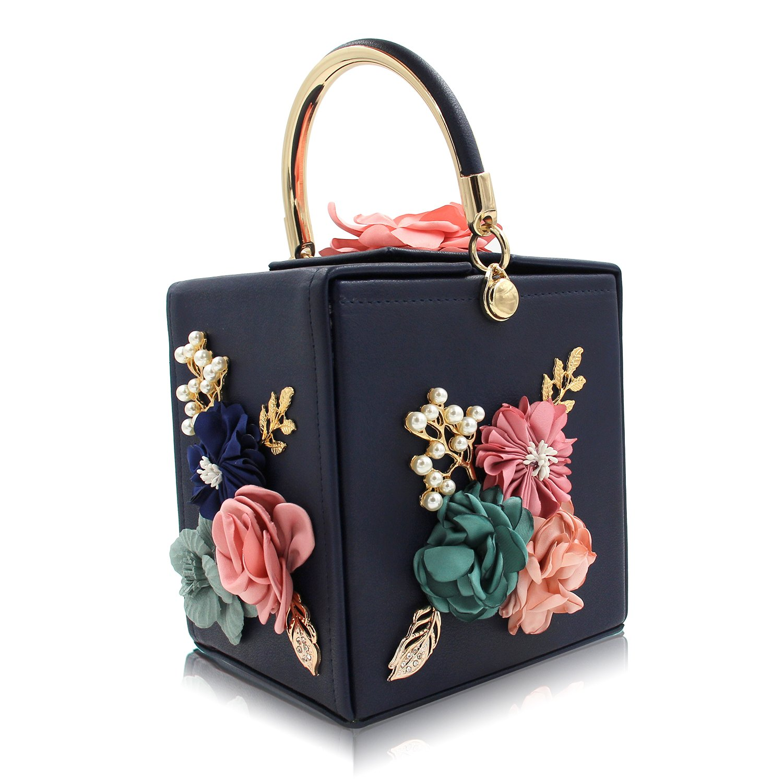 Women Wedding Bag Beaded Flower Box Evening Clutches Purse Handbag Party Bag Navy Blue