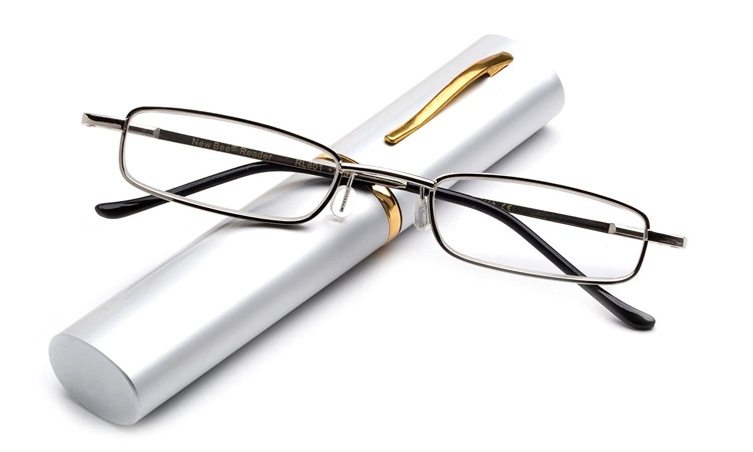 Newbee Fashion – Slim Compact Light Weight Spring Temple Reading Glasses Portable Aluminum Case Tube Readers