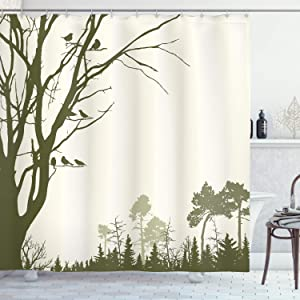 "Ambesonne Forest Shower Curtain, Nature Theme The Panorama of a Forest Pattern Birds on Tree Branches Print, Cloth Fabric Bathroom Decor Set with Hooks, 75"" Long, Olive Green"