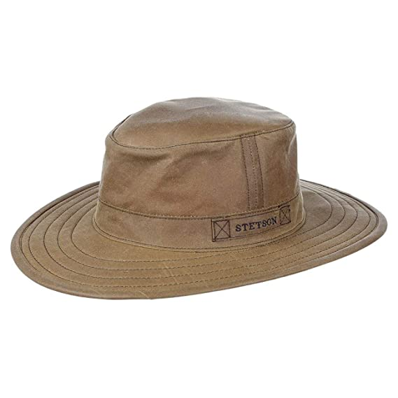 Stetson Pompano Waxed Cotton Hat weatherproof oilskin  Amazon.co.uk   Clothing 9fc4ab7cff3