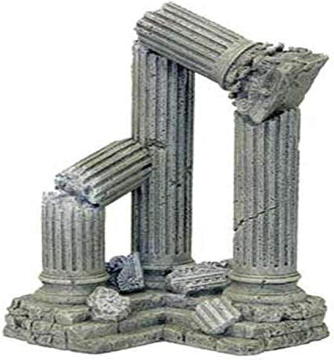 Blue Ribbon Pet Products Resin Aquarium Ornament - Three Column Ruins Corner Section, 9 L x 6.5 D x 11 H Inch (006311)