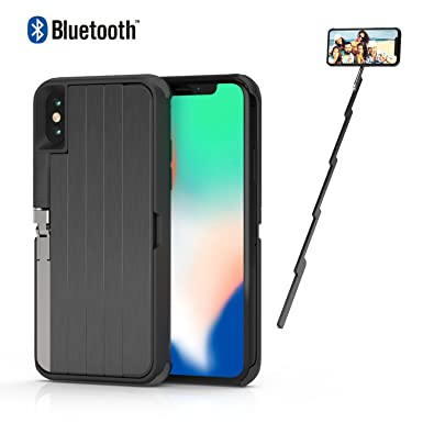 best loved 1fbd0 b4773 ETROBOT Selfie Stick Case for iPhone X 3 in 1 iPhone X Case Cover with  Extendable Wireless Rechargeable Bluetooth Selfie Stick Aluminium Kickstand  ...