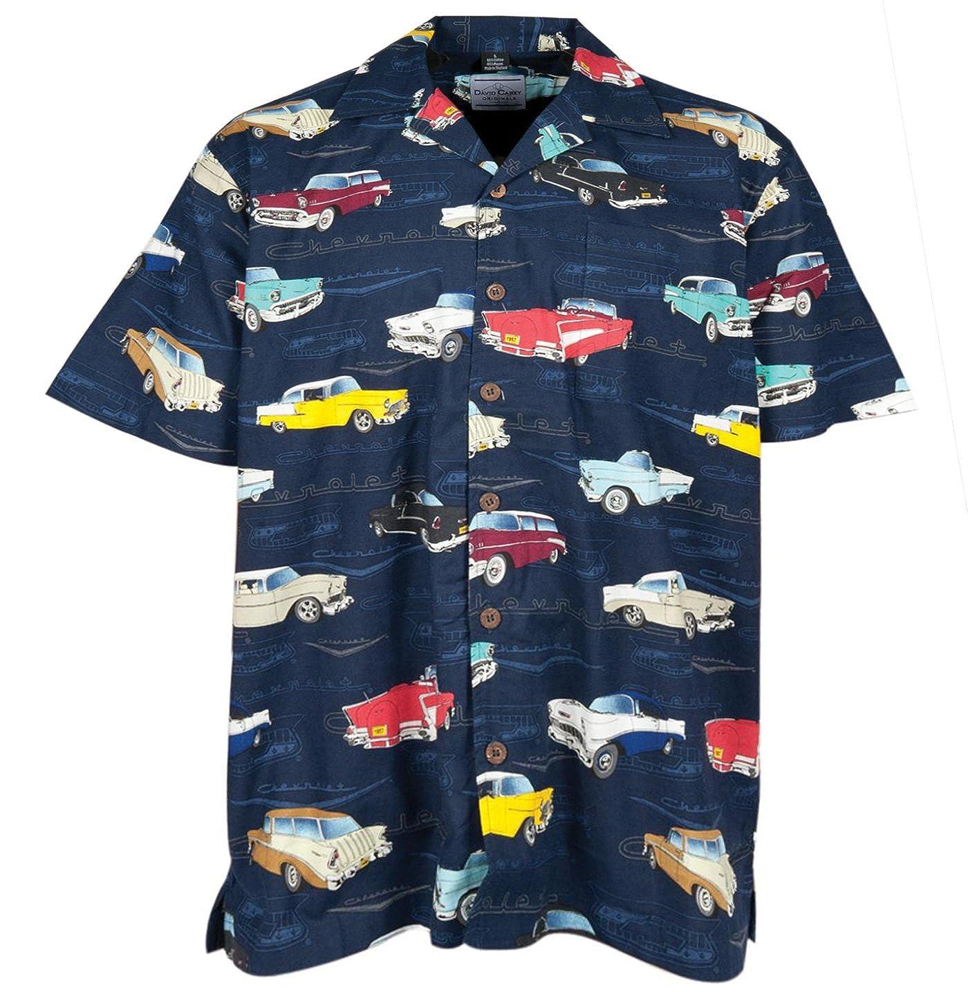 Navy Chevrolet Bel Air Tri Five 1955 1956 1957 Camp Hawaiian Shirt