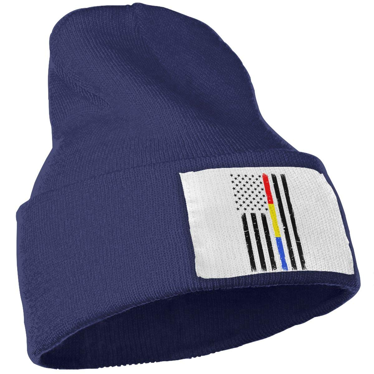 WHOO93@Y Mens Womens 100/% Acrylic Knitted Hat Cap Thin Red Blue Gold Line Flag Fashion Ski Cap