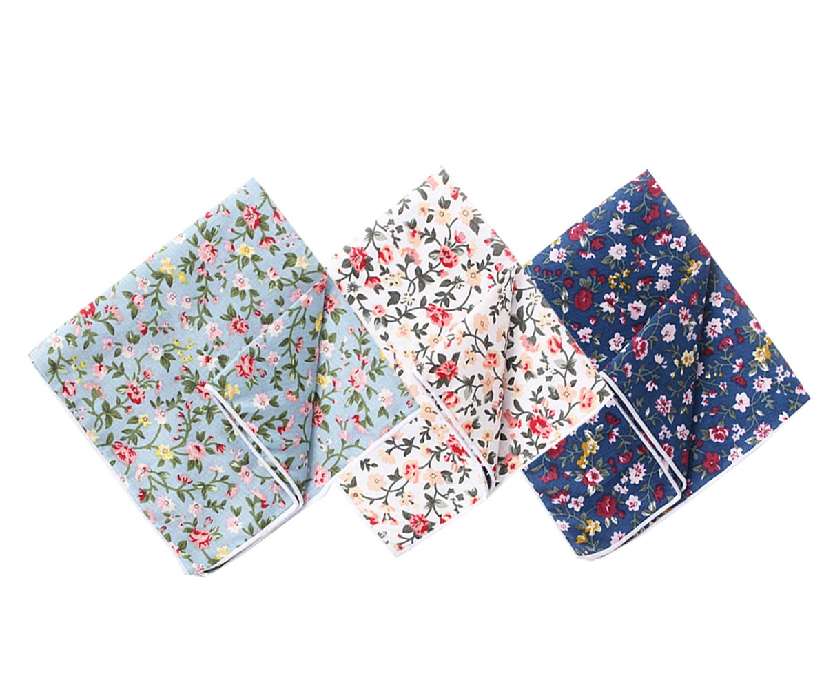 Men's Cotton Floral Handkerchief Pocket Square