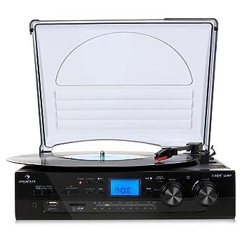 AUNA TT-186E Total Black Tocadiscos: Amazon.es: Electrónica