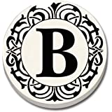 """CounterArt 'Initially Yours' Absorbent Stoneware Car Coaster, Monogrammed """"B"""""""