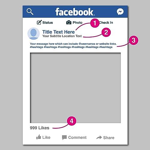 Facebook 2017 Social Media Personalised Selfie Frame Fun Party Prop